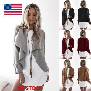 US Women Long Sleeve Waterfall Cardigan Casual Buckle Jacket Coat ...