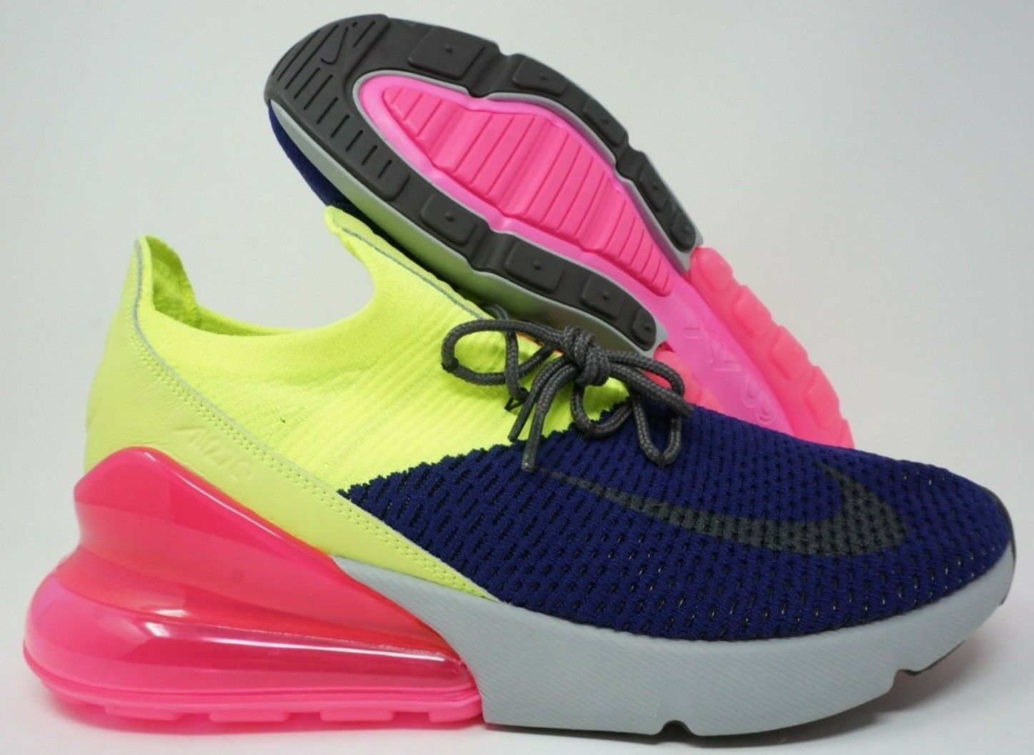 Nike Air Max 270 Flyknit Mens Running shoes Regency Purple Grey Volt Size 9.5