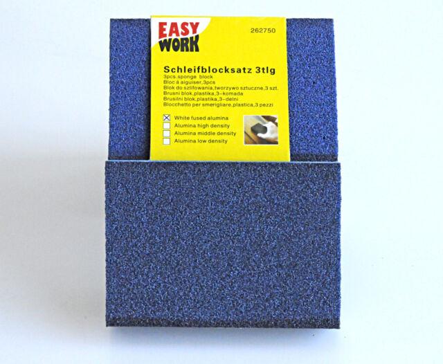 Schleifblock-Satz 3 tlg. Schleifschwämme 100x70x25mm Schleifklotz Schleifschwamm