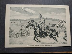 German-ZEPPELIN-AIRSHIP-1916-WWI-Army-Postal-History-Cover-CAVALRY-Charge