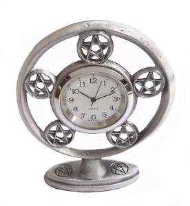 Details About Pentagram Solid Pewter Gothic Desk Clock