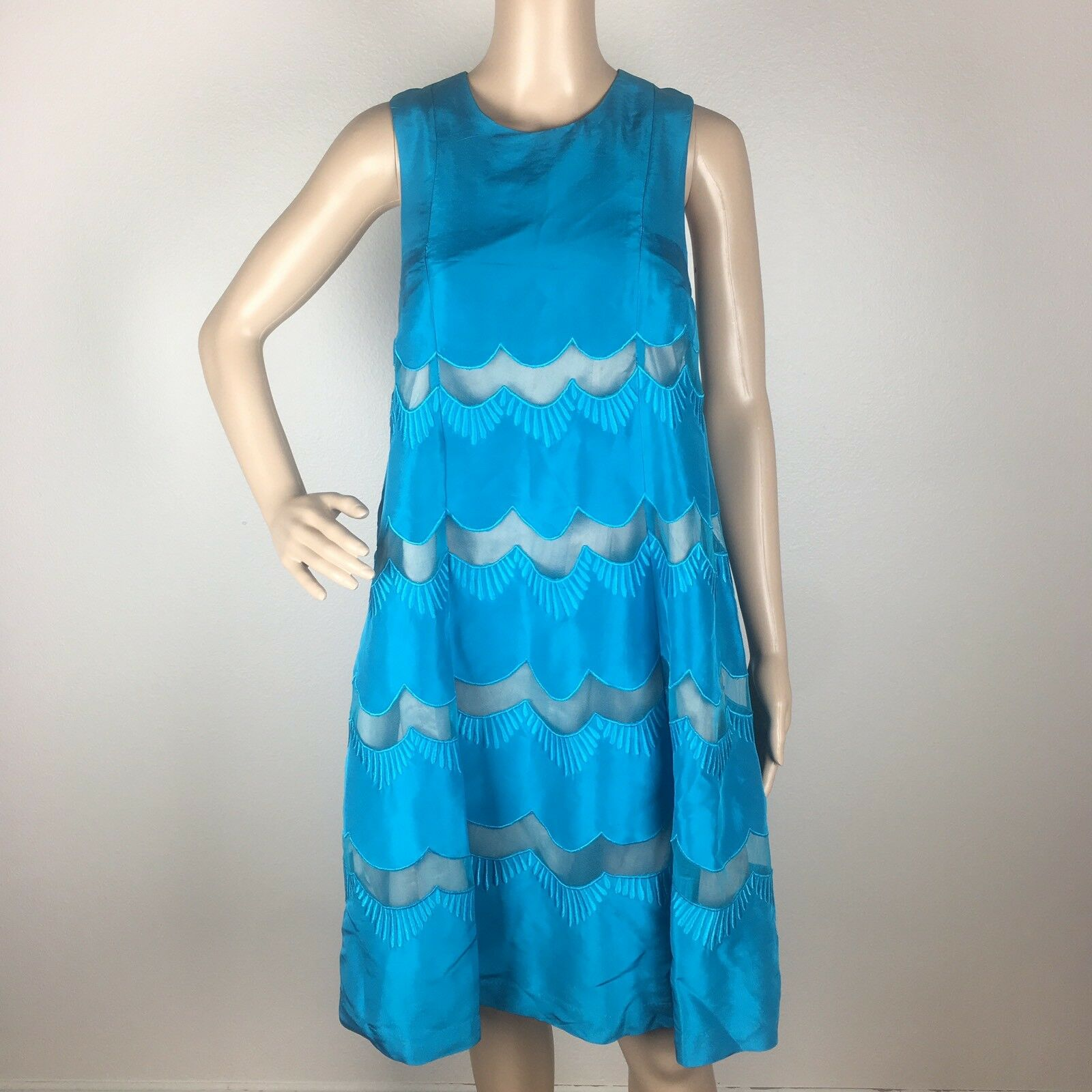 Tracy Reese 100% Silk Turquoise Scalloped Cocktail Dress Evening Party Größe 4