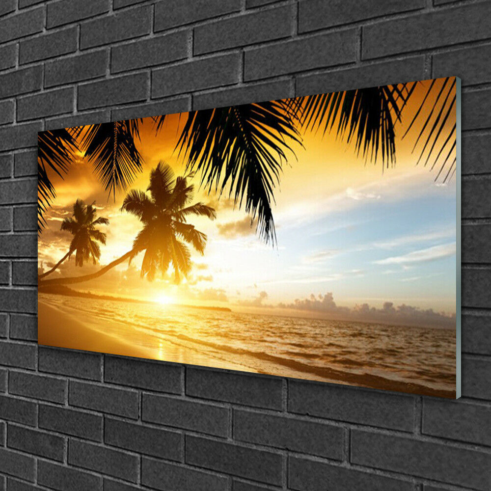 Print on Glass Wall art 100x50 Picture Image Beach Beach Beach Palm Sea Landscape 5ae202