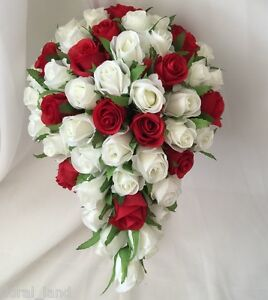 Image Is Loading Silk Wedding Bouquet Red White Rose Bud Roses