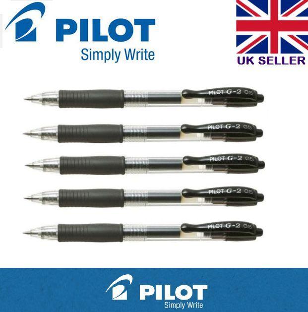 5 x Pilot G2 0.5mm Retractable Gel Ink Rollerball Pen Black