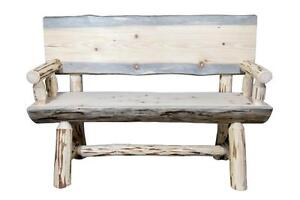 Brilliant Details About Rustic Outdoor Wooden Bench 4 Ft Real Logs Back And Arms Amish Made Benches Caraccident5 Cool Chair Designs And Ideas Caraccident5Info