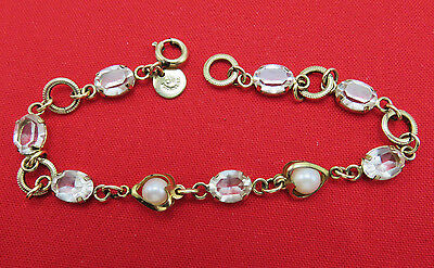 DCE Curtis Jewelry Vintage Bracelet Real Pearl Crystal Gold Filled 7.25 in. 697g