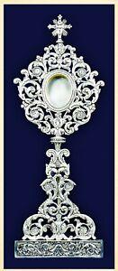 Reliquiario barocco cesellato a mano argentato antichizzato h 70 reliquary