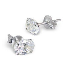 Quality 925 Sterling Silver Earrings - Cear CZ Oval Studs 5x7mm - Free Gift Box