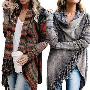 Womens-Ladies-Pullover-Jumper-Sweater-Coat-Poncho-Tassel-Top-Cardigans-Outwear