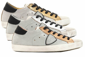 Sneakers-Philippe-Model-PARIS-L-DMIXAGE-grigia-scarpa-100-pelle-Made-in-Italy-do