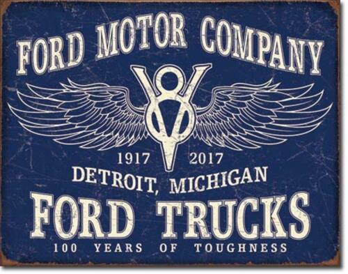 Ford Motor Company Trucks Detroit Michigan Tin Metal Sign 100 Years Of Toughness
