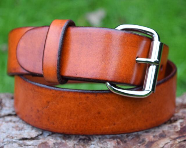 Cristopher Handmade Full Grain Brown Leather Belt Nickel Plated Roller Buckle