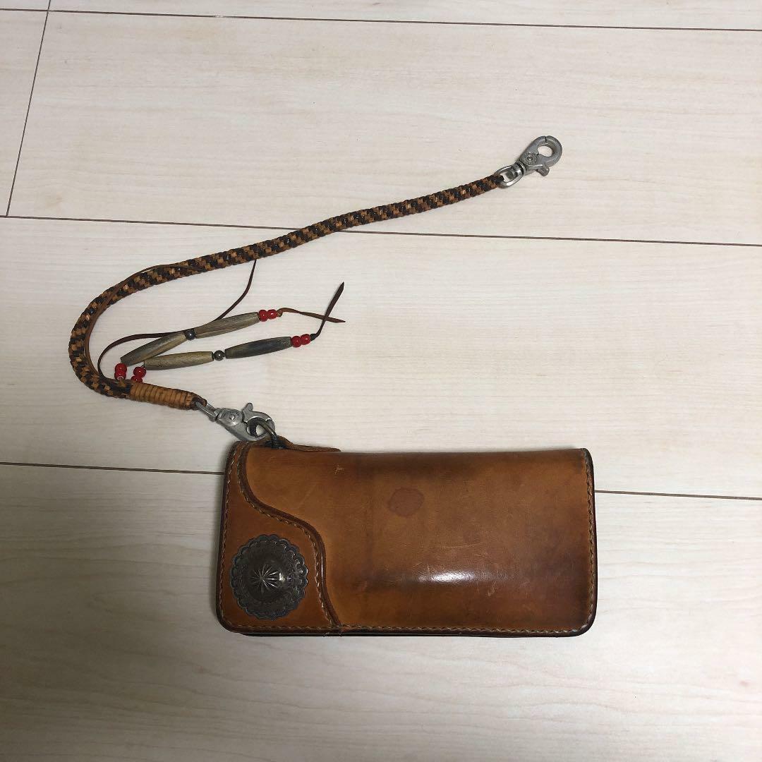 FLAT HEAD Folding Long Wallet With Rope Silver Concho Biker Men's From Japan