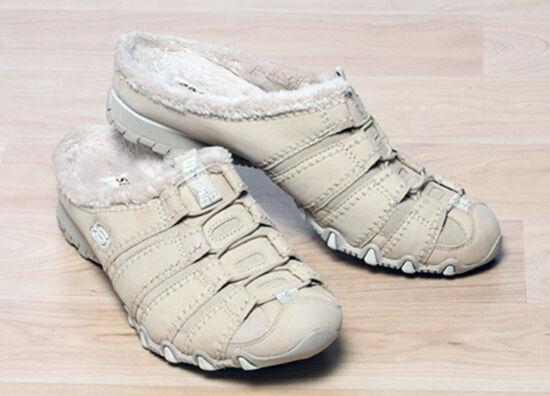 New SKECHERS Women Women Women Suede Fur Flat Slip On Slide Mule Slipper Sandal shoes Sz 9 M c36923