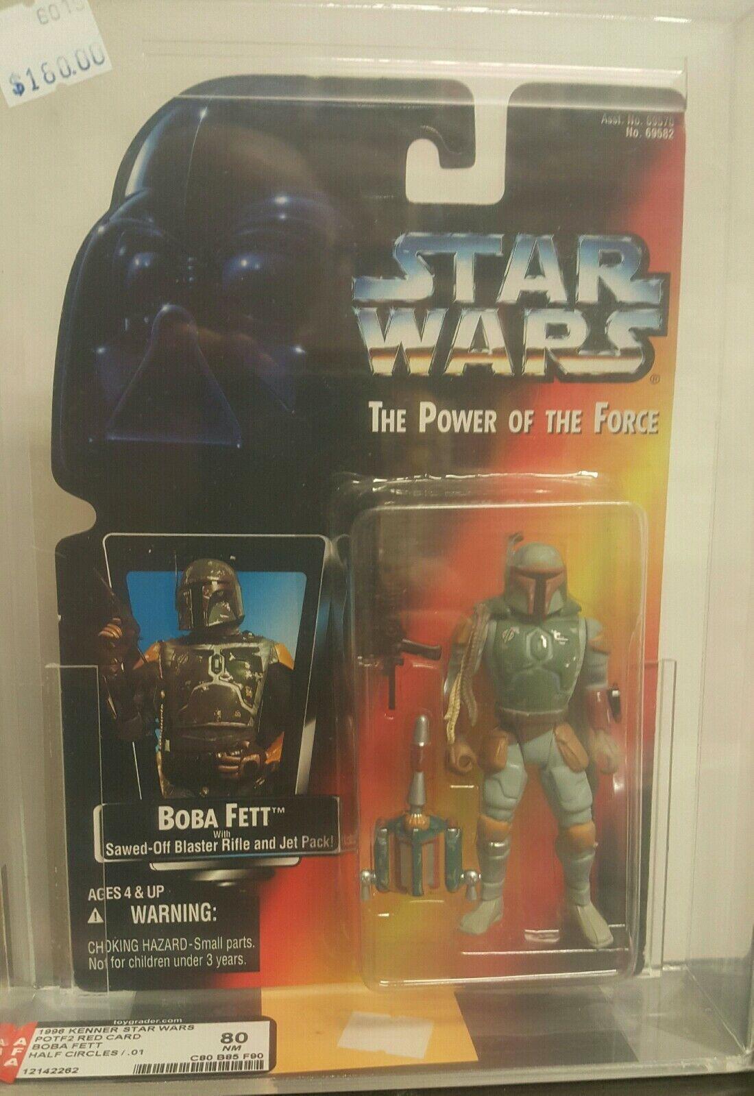 1996 figurine star wars Autorité classé le pouvoir de la Force 2 Bobba Fett demi-cercles .01 variante 80 Presque comme neuf
