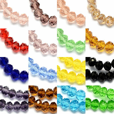 10 Strds Handmade Abacus Glass Beads Faceted Loose Bead Tiny Beading Craft 6x4mm
