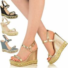 47b562230 item 1 Womens Ladies Studded Espadrille Wedge High Heel Sandals Ankle Strap  Shoes Size -Womens Ladies Studded Espadrille Wedge High Heel Sandals Ankle  Strap ...