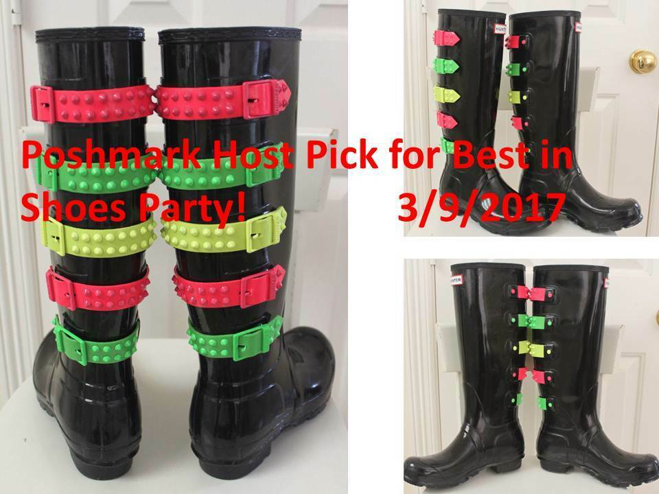 Hunter Black Rubber Boots Limited Festival US10 EU42 Rainbow Buckle Gummistiefel