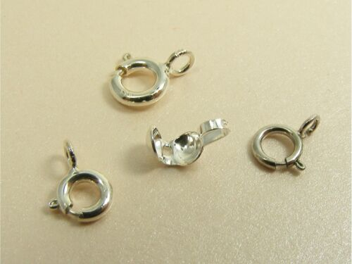 4 x 925 STERLING SILVER Spring Ring BOLT CLASPS 5mm 6mm or Bead Tip COVERS