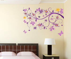 57000103 wall stickers floral vine purple beautiful - Beautiful wall stickers for living room ...