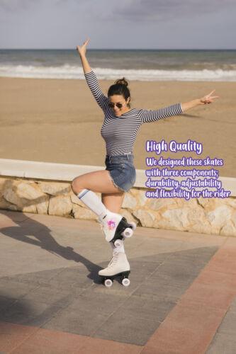 Quad Skates Purple Flower for Women Size 7 Adult 4-Wheels