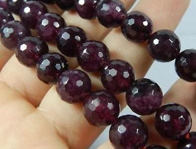 "Wholesale 8mm Faceted Garnet Gem  Round Loose Bead 15""L"