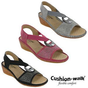 Cushion-Walk-Halterback-Sandals-Womens-Elasticated-Strap-Open-Toe-Lightweight