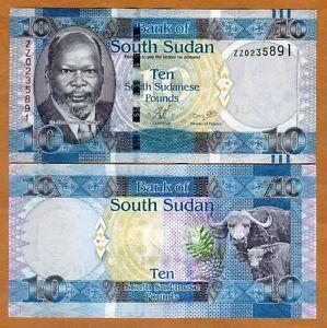 1,5,10,20,50,100,500 Pounds p5 and p11-p16 UNC 2018 South Sudan 7 Note Set