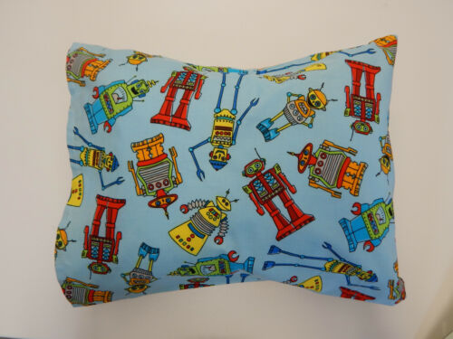 Child Toddler Cot Pillowcase - Robots on Blue - 100% Cotton
