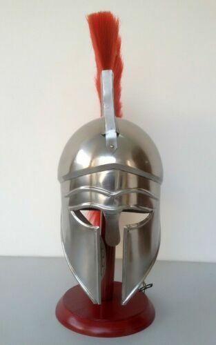 Medieval griego Corinthian casco con penacho rojo Decoración ateniense hecho a mano color rojo ciruela