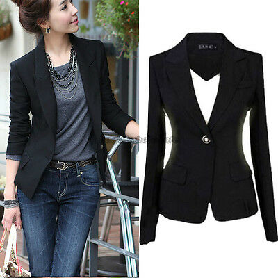 New Women's One Button Slim Casual Business Blazer Suit Lady Jacket Coat Outwear