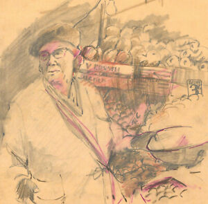 Mid-20th-Century-Graphite-Drawing-Market-Seller