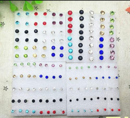 Lots 160 PAIRES Multicolore Rond Strass Plastique Hypoallergénique Clous D/'Oreilles