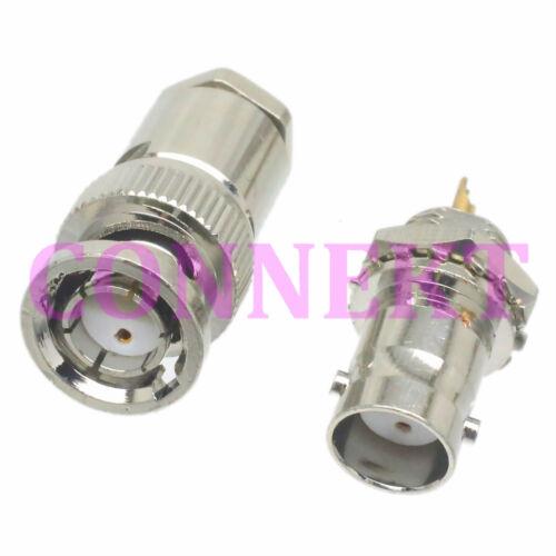 Twin Twinax BNC male plug female jack nut bulkhead solder RG108 RG108A connector