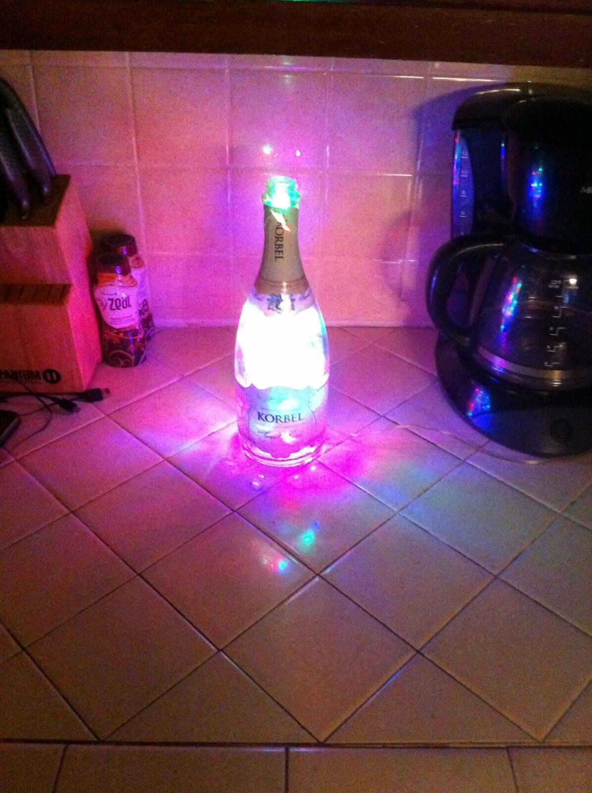 Korbel Lighted Champagne Bottle with 100 Multicolord LED, 7 light settings