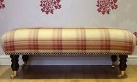 A Quality Long Footstool In Laura Ashley Brodie Raspberry Fabric