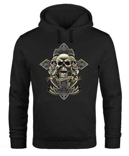 Hoodie Herren Kreuz mit Totenkopf Cross Skulls Kapuzen-Pullover Neverless®