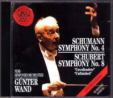 Günter WAND: SCHUMANN Symphony No.4 SCHUBERT Sinfonie 8 Unfinished RCA CD Gunter