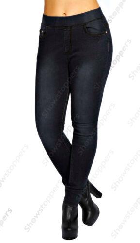 Nuevo Talla Grande para Mujer Negro Estrechos Elastizados Jean Ajustados Jeggings 16 18 20 22 24