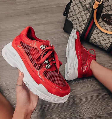 Cape Robbin TWINKY Red Faux Leather Lace Up Platform Athleisure Sneaker