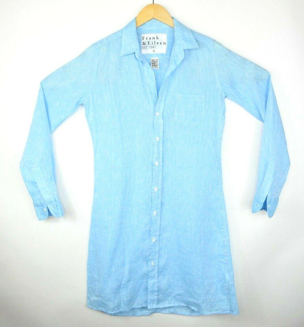 Frank & Eileen  Murphy  100% Linen XS Blau Shirt Dress Long Sleeve Button Down