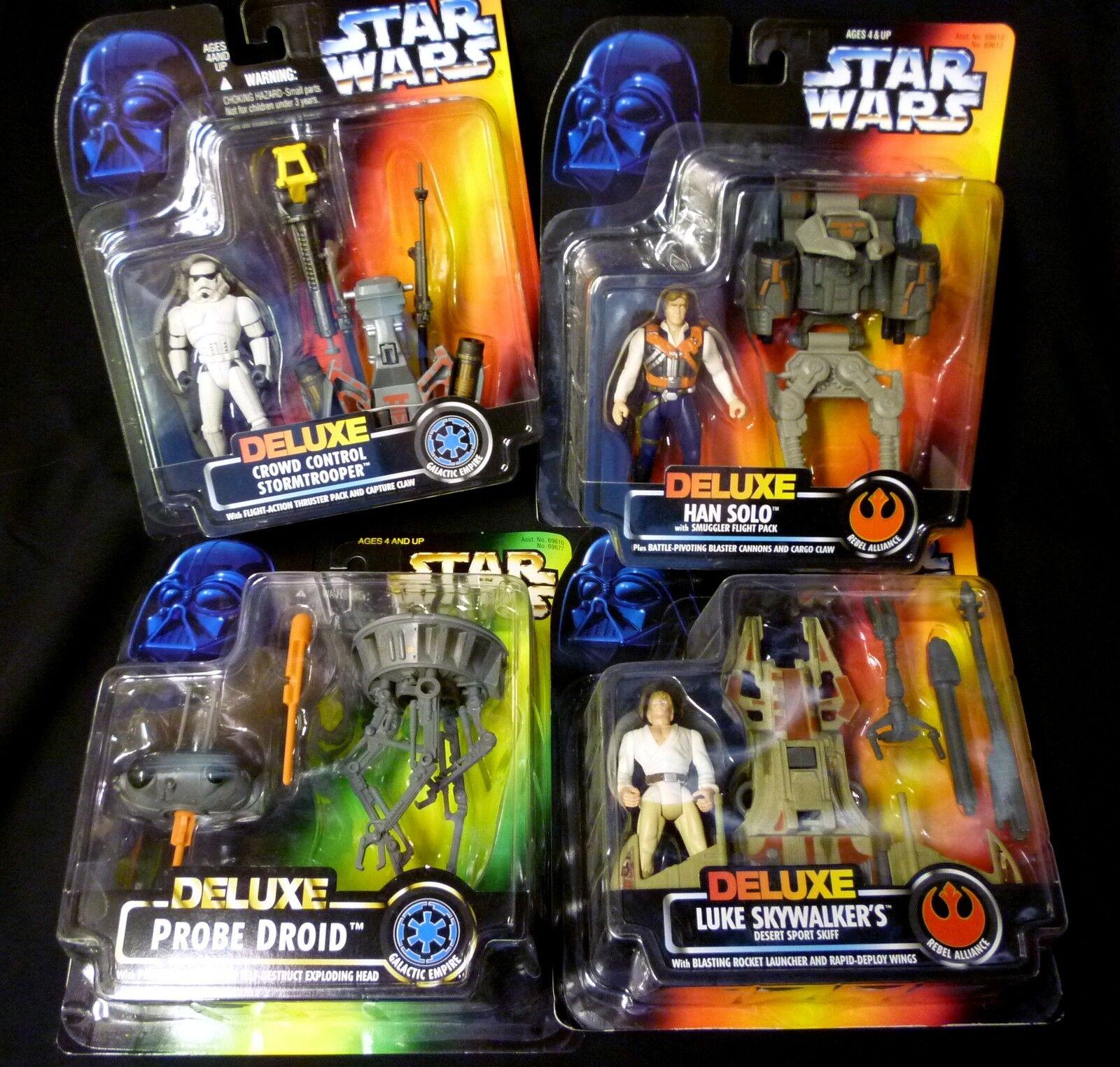 Star - wars - hasbro deluxe satz 4 luke skywalker han solo suchdroide + 1996.
