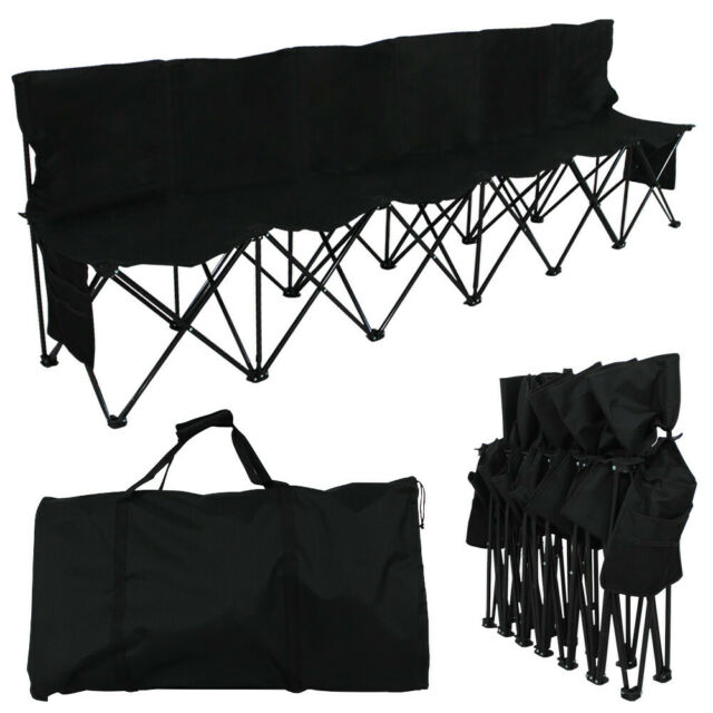 Six Seats Folding Bench Outdoor Picnic Camping Multi Deck Chair Portable Black