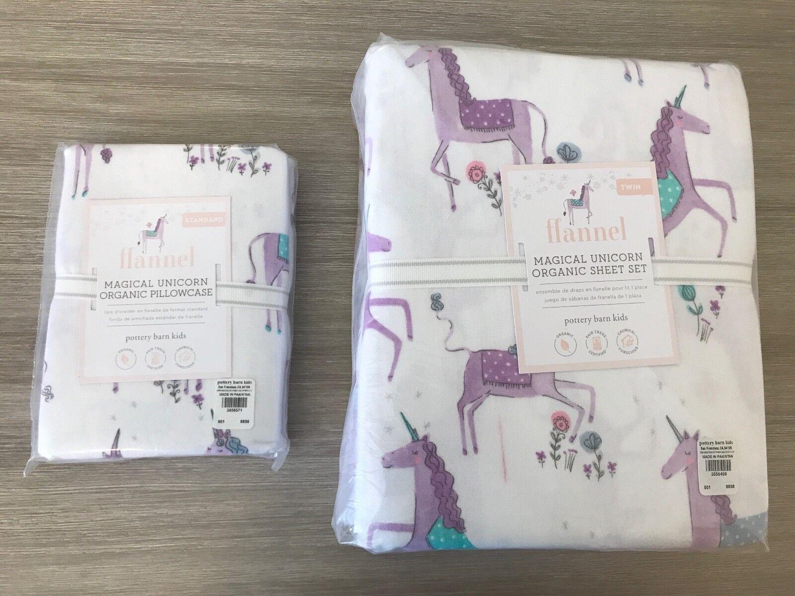 POTTERY BARN KIDS New Neuf avec étiquettes Twin Sheet Set Organique Violet licornes + 1 Extra Case