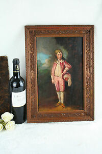 French OIL on  Panel Painting Boy Victorian signed monogram 19th c