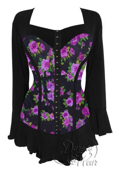 Dare to Wear Victorian Gothic Plus Größe Corsetta Top in lila Rosa