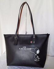 NWT Coach Snoopy City Zip Tote Leather Peanuts Shoulder Bag Handbag Purse 37273