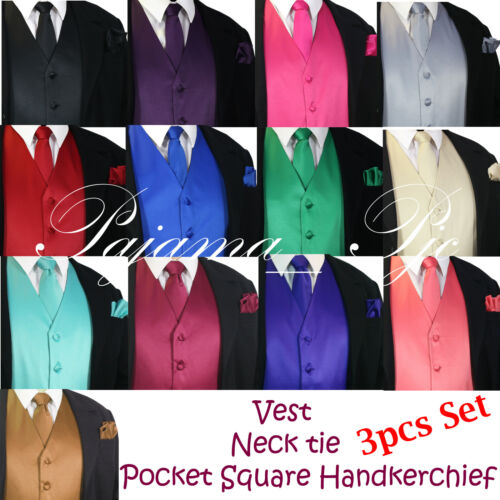 New Men/'s Waistcoat Dress Vest and Neck Tie Hankie Set Wedding Prom Party Formal