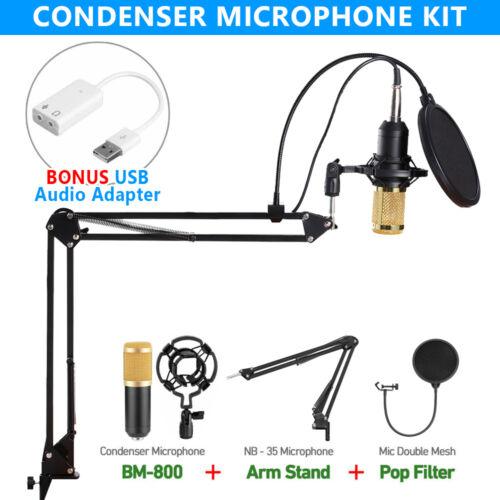 1 of 1 - BM800 Condenser Microphone Kit Studio Suspension Boom Scissor Arm Sound Card AU